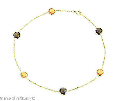 14K Yellow Gold Anklet Bracelet With Citrine And Smoky Topaz  Gemstones 9""