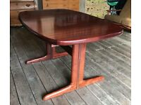 Rosewood Mid Century Danish Extending Two Leaf Dining Table by Dyrlund
