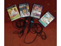 PLAYSTATION 2 GAMES - 4 SING STAR GAMES WITH 2 MICROPHONES