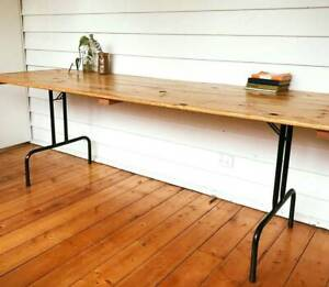 Long Vintage Timber Trestle Table