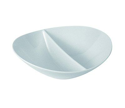 6 x Dale Brook White Melamine Sectioned Salad Snack Bowls 245x225x80mm 1.2L K12A