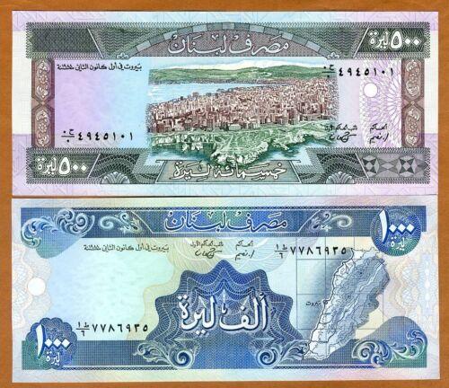 SET Lebanon, 500;1000 Livres, 1988, P-68-69a, UNC