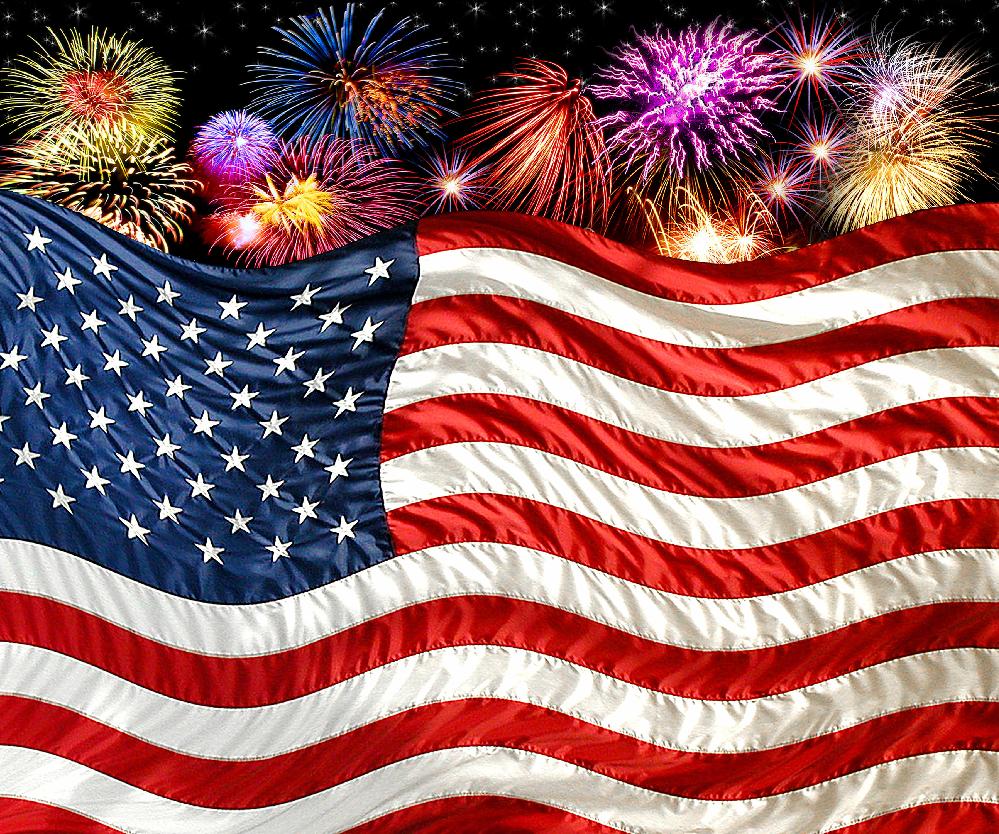 "American Flag with Fireworks Fleece Throw Blanket 50"" x 60"