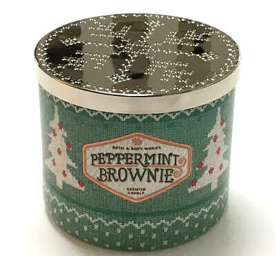 - New Bath & Body Works Peppermint Brownie Scented 3 Wick Candle 14.5oz Candy Cane
