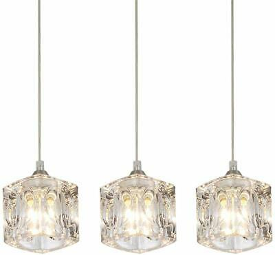 Pendant Light Set Fixture Crystal Mini Chandelier Glass Hanging Kitchen Island