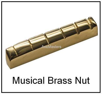 Guitar Top Nut (AxeMasters FLAT TOP BRASS NUT for Slide Guitar on EPIPHONE Les Paul  PeeWee... )