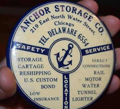 Antique Anchor Storage Advertising Celluloid Paperweight Pocket Mirror Chicago