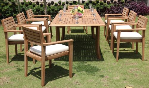 """9 Pc Teak Outdoor Dining Set 94"""" Rectangle Extn Table + 8 Monta Stacking Chairs"""