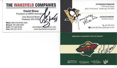 PITTSBURGH PENGUINS ASST COACH JACQUES MARTIN SIGNED BUSINESS CARD