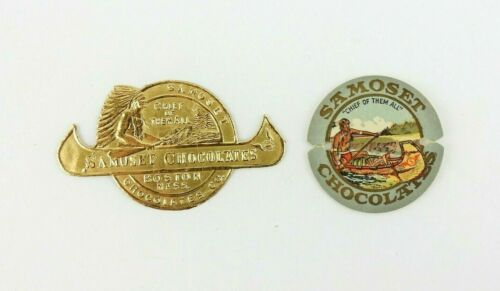 2 Small Vintage Samoset Chocolates Tag Sticker Label Indian Chief 1912