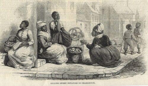 1861 Antique Woodcut~Black Americana~Slave Women Sell Sweet Potatoes~Charleston