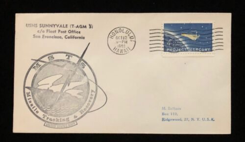 MERCURY ERA 1963 T-AGM-3 MISSILE TRACKING & RECOVERY SHIP POSTAL COVER (C)