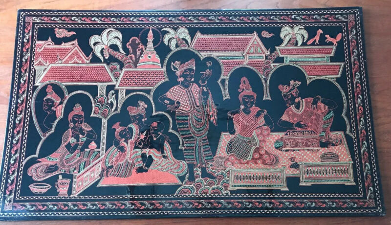 "Incredible Antique Burmese Engraved Lacquer Panel 30"" x 18"" Palace Scene"
