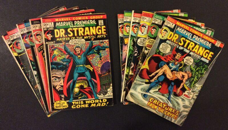 MARVEL PREMIERE #3 - 14 Comic Books DR STRANGE Full Run Barry Windsor Smith 1974