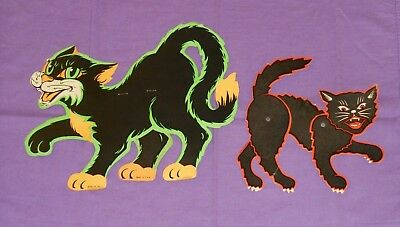 vintage Halloween BEISTLE STAND-UP PRANCING CAT & JOINTED CAT DECORATION lot