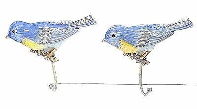 (Set 2 Brass Enamel Rhinestones Hook Holder Hanger Decorative Bird Wall Mounted)
