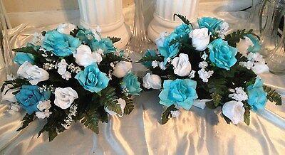 2 Brides Wedding Table Arrangements Church or Reception Designed in Your Colors  - Wedding Table Arrangements