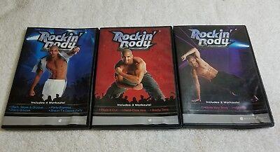 3 Rockin Body Dvd Lot  Workout Fitness Shaun T Dance Abs House Your Body Hip Hop