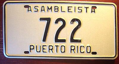 PUERTO RICO ASSEMBLY ASSEMBLYMAN LOW NUMBER POLITICAL LEGISLATURE LICENSE PLATE
