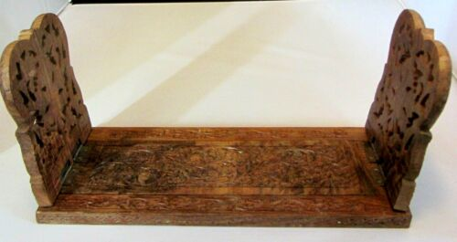 LOVELY VINTAGE CARVED WOODEN EXPANDABLE BOOK RACK HOLDER STAND--MADE IN INDIA