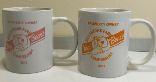 Lot of 2 Yogi Bear Coffee Cups Mugs - Pierceton, IN 2012, 2013 Jellystone Resort