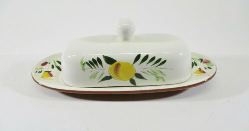 """Stangl Pottery """"Fruit and Flowers"""" Butter Dish w/ Lid Hand Painted NJ USA"""