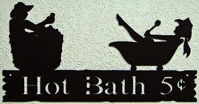 HOT BATH WALL WORD SIGN COWBOY COWGIRL VINTAGE RUSTIC WESTERN METAL ART DECOR
