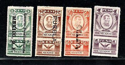 Mx. Revenues 1914-15, Revolution era, #R405, 409, 410, &R411 to $1 peso