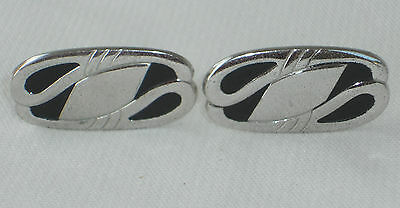 Anson Silver tone Oval black Nice Cuff links Cufflinks Vintage western large