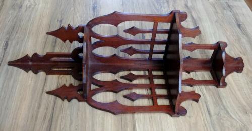 Antique 3 Tier Scroll Cut Fretwork Wood Gothic Corner Wall Knick Knack Shelf