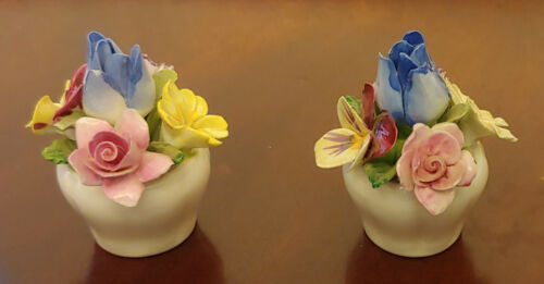 Vintage Crown Staffordshire Bone China England Multicolor Pot of Flowers PAIR