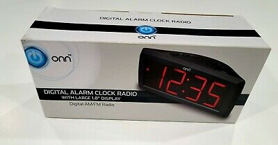 ONN AM/FM Digital Alarm Clock Radio with Large 1.8Display BRAND NEW
