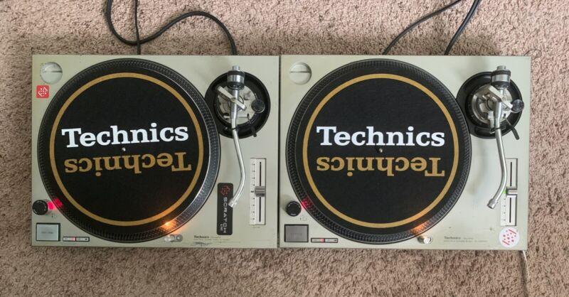 Technics White & Gold Dj Slipmats sl1200