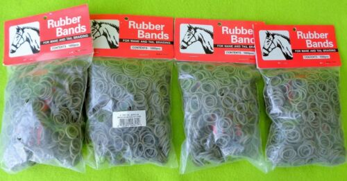 4 Packs 1000~4000 GRAY Elactic Rubber Band MANE~Tail Braid Braiding BANDS &COMBS