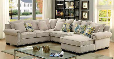 NEW Living Family Room Furniture Beige Microfiber Sofa Couch Sectional Set ICAK ()