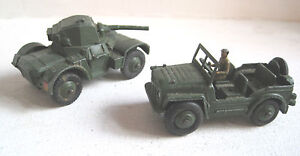Dinky Military No 670 Armoured Car & 674 Austin Champ (green) Unboxed