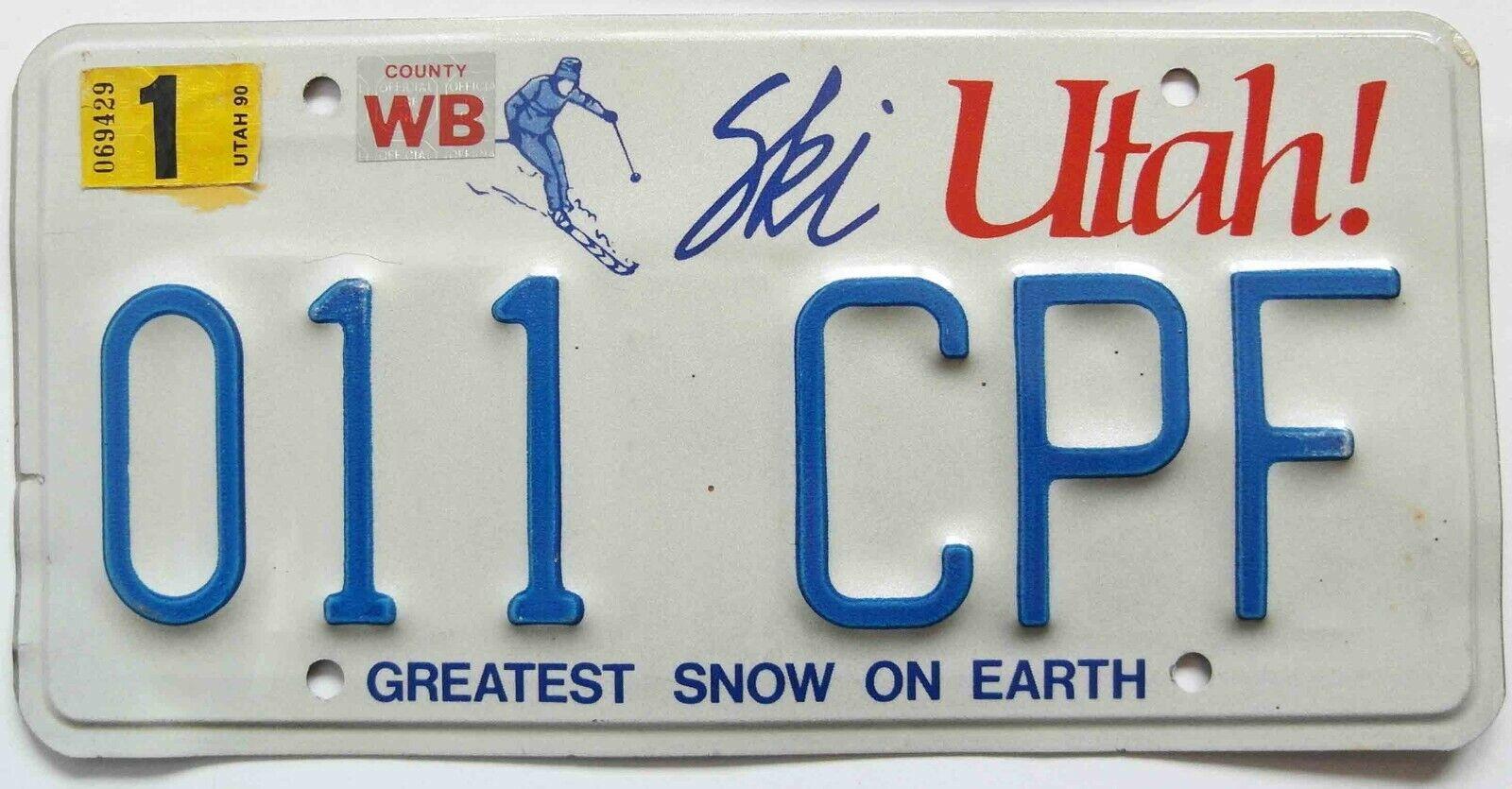 Nummernschild Utah , USA - Skiläufer