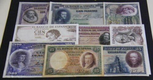 SPAIN LOT 9 BANKNOTES DIFERENTES  VF/XF+