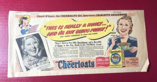 "1943 ""Cheeri O'Leary, Ceerioats, Charlotte Greenwood"" ""Dixie Dugan"" ad 15.5x7"""