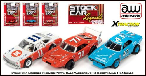 Auto World 3 Stock Car Legends Petty, Yarborough & Isaac Also Fits AW, AFX