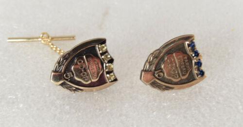 vtg Farm Bereau CO-OP 10k gold filled 5 10 yrs Sapphire Periot Lapel TIE tack