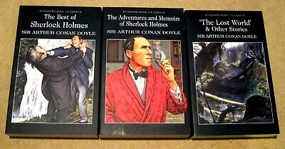 Conan Doyle 3 Book Lot Lost World, Adventures, Memoirs, Best of Sherlock