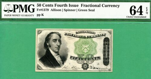50 Cent FOURTH ISSUE FRACTIONAL - Fr 1379 DEXTER - PMG CU 64 with EPQ