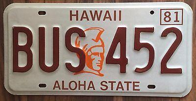 1981 Hawaii King Kamehameha BUS License Plate Mint #BUS 452