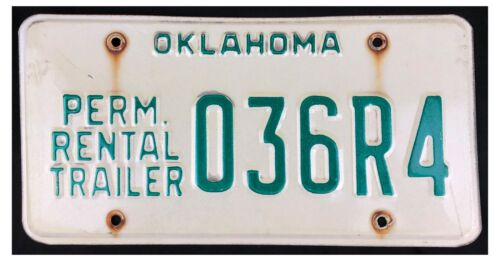 Oklahoma about 2000 PERMANENT RENTAL TRAILER License Plate 036R4!