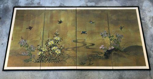ANTIQUE JAPANESE 4-PANEL BIRDS & FLORAL SCREEN PAINTING ON PAPER.