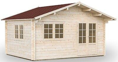 68 mm Gartenhaus Wien 2  Alaska + Iso-Verglasung + Fußboden 470x380 cm Holzhaus