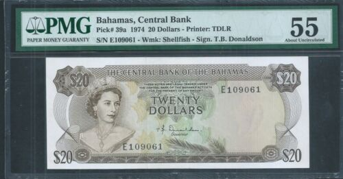 BAHAMAS $20 P39a L.1974 QEII PMG 55 About Uncirculated
