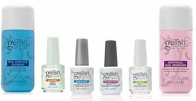 NEW Gelish Full Size Gel Nail Polish Basix Care Kit (15ml) + Remover & Cleanser