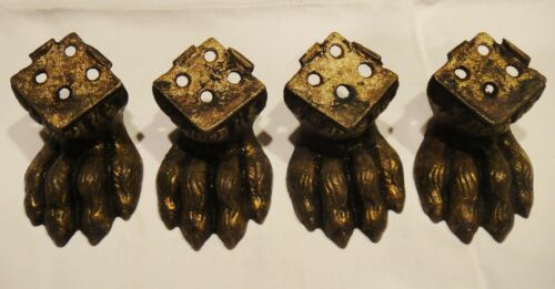 4 Antique Cast Brass Claw Paw Feet Antique Salvage for Furniture or Clock